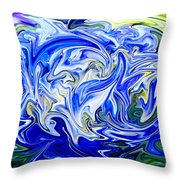 Blue Mophead Hydrangea Abstract Throw Pillow