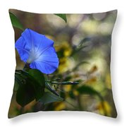 Blue Morning Glories Throw Pillow by Linda Unger