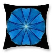 Blue Morning Glory Flower Mandala Throw Pillow