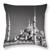 Blue Mosque Black And White Throw Pillow