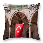 Blue Mosque Courtyard Portico Throw Pillow