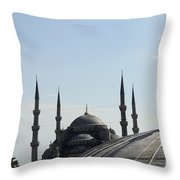 Blue Mosque Dome Behind Hagia Sophia Dome Throw Pillow