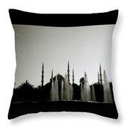 Blue Mosque Dusk Throw Pillow
