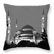 Blue Mosque In Black And White Throw Pillow