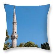 Blue Mosque Minaret 01 Throw Pillow
