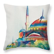 Blue Mosque Sun Kissed Domes Throw Pillow