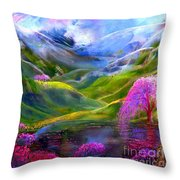 Blue Mountain Pool Throw Pillow by Jane Small