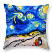 Blue Night Throw Pillow