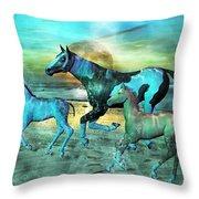 Blue Ocean Horses Throw Pillow by Betsy Knapp