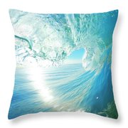 Blue Ocean Wave Throw Pillow