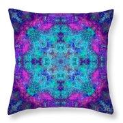 Blue Opal Rainbow Mandala Throw Pillow