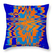 Blue Orange Abstract Throw Pillow