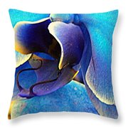 Blue Orchid Macro Throw Pillow
