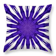 Blue Orchid Sunburst Kaleidoscope Throw Pillow