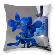 Blue Orchids At All Throw Pillow