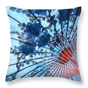 Blue Ornamental Thai Umbrella Throw Pillow