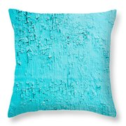 Blue Paint Background Grungy Cracked And Chipping Throw Pillow