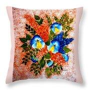 Blue Pansies Bouquet Throw Pillow