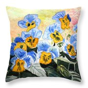Blue Pansy Throw Pillow