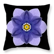 Blue Pansy I Flower Mandala Throw Pillow