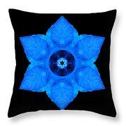 Blue Pansy II Flower Mandala Throw Pillow by David J Bookbinder