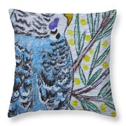 Blue Parakeet Throw Pillow