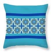 Blue Patchwork 2 Throw Pillow