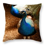 Blue Peacocks Throw Pillow