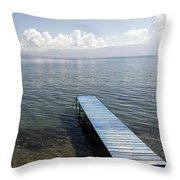 Blue Pier At Lake Ohrid Throw Pillow