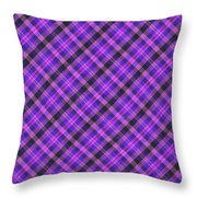 Blue Pink And Black Diagnal Plaid Cloth Background Throw Pillow