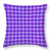 Blue Pink And White Plaid Cloth Background Throw Pillow
