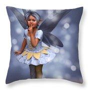 Blue Pixie Throw Pillow