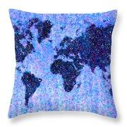Blue Pointillist World Map Throw Pillow