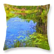 Blue Pond And Water Lilies Throw Pillow