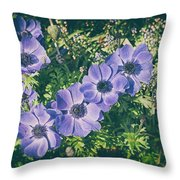 Blue Poppies Blooms Throw Pillow