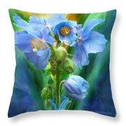 Blue Poppy Bouquet - Square Throw Pillow