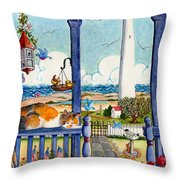Blue Porch With Cat Throw Pillow