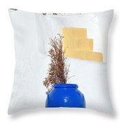 Blue Pot In Oia Town Throw Pillow