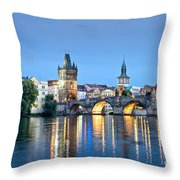 Blue Prague Throw Pillow