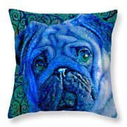 Blue Pug Throw Pillow