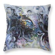 Blue Purple Abstract Movement Art Throw Pillow