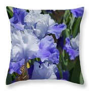 Blue Purple Irises Flowers Art Prints Throw Pillow