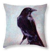 Blue Raven Throw Pillow