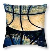 Blue Basketball Throw Pillow