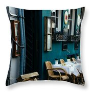 Blue Restaurant Throw Pillow