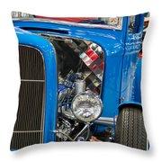 Blue Retro Beauty Throw Pillow