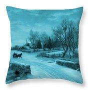 Blue Retro Vintage Rural Winter Scene Throw Pillow
