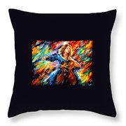 Blue Rhapsody - Palette Knife Oil Painting On Canvas By Leonid Afremov Throw Pillow