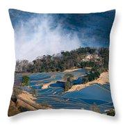 Blue Rice Terrace Throw Pillow