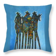 Blue Riders Throw Pillow